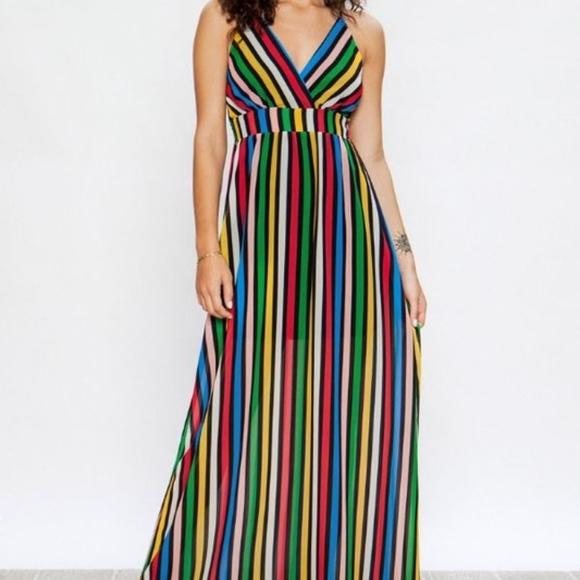 Dresses & Skirts - Striped Maxi Rainbow Maxi Dress